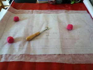 "Marking pattern on to ""Kwik Trace"" muslin"