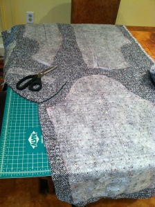 Cutting the fabric with large seam allowances
