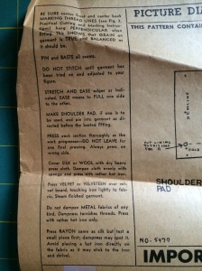 Vintage pattern instructions